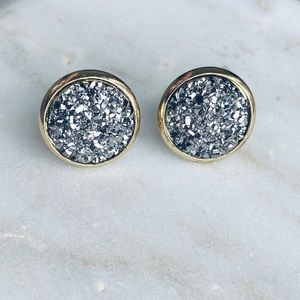 Graphite Druzy Earrings Stone Stud Stainless Glam